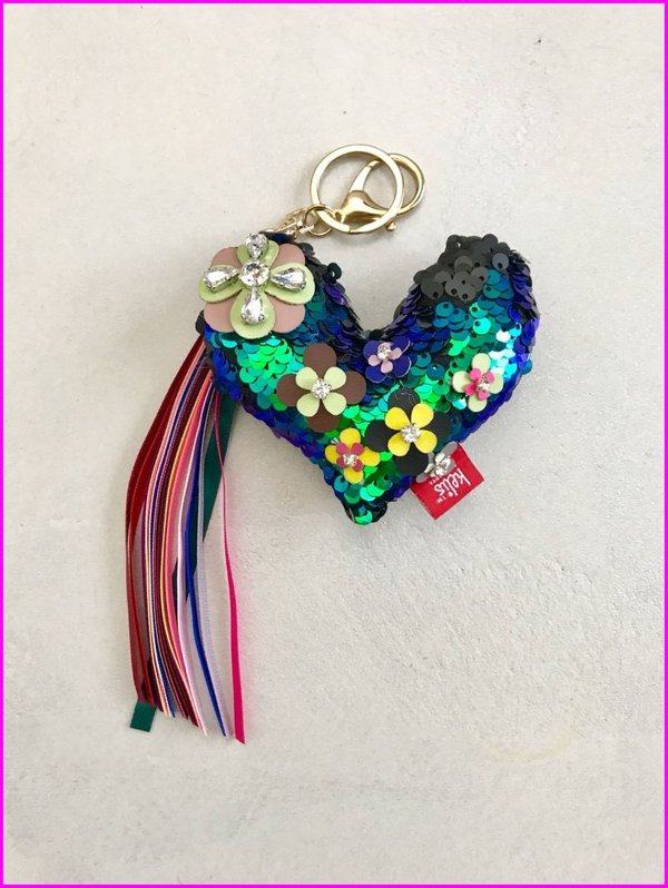 Charms cuore blu in paillettes con frange multicolore
