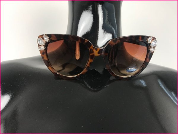Sunglasses cat eyes animalier con pietre color marrone.