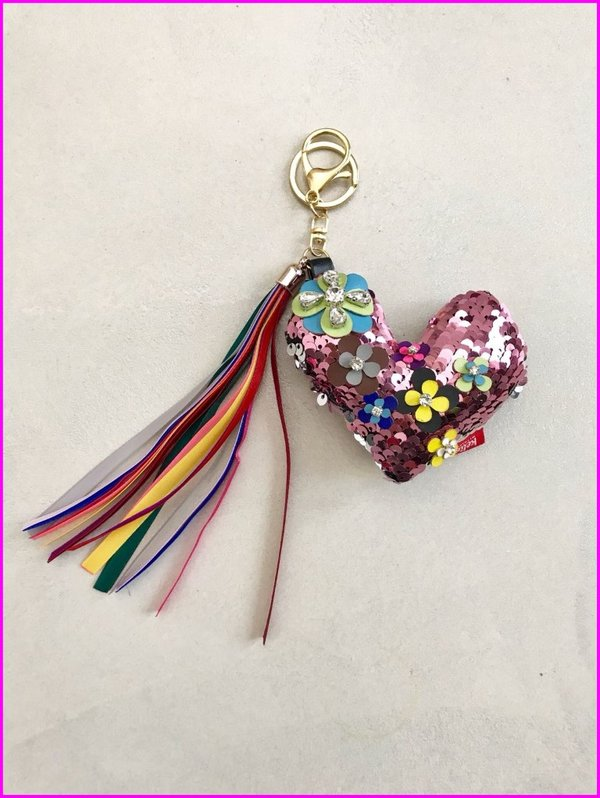 Charms cuore rosa in paillettes con frange multicolore