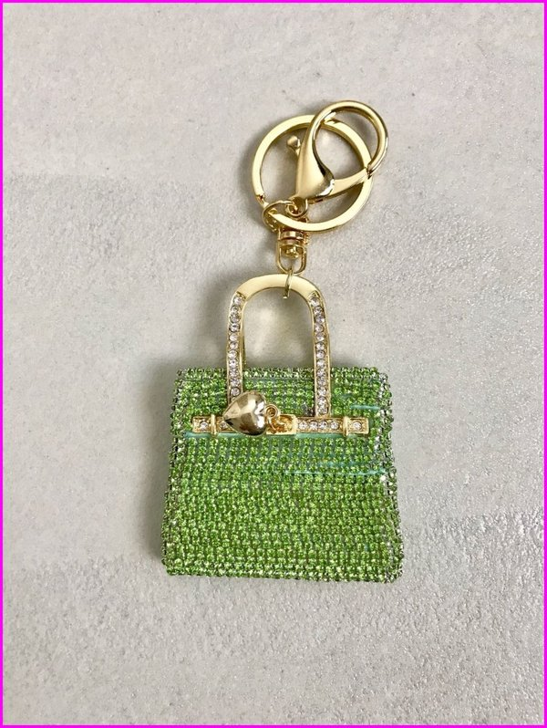Charms mini bag in swarovski verde.