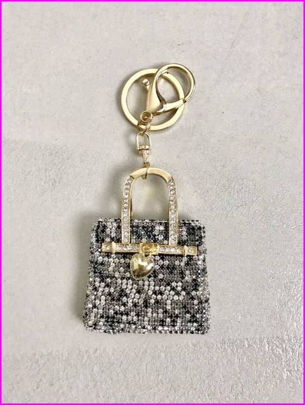 Charms mini bag in swarovski bianconero.