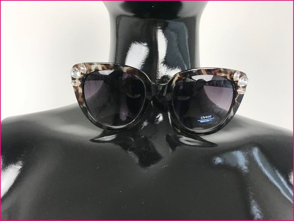 Sunglasses cat eyes animalier con pietre color nero.